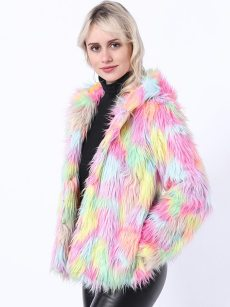 (Free Express Shipping)Vinfemass Color Block Luxury Rainbow Thick Hooded Faux Fox Fur Short Coat