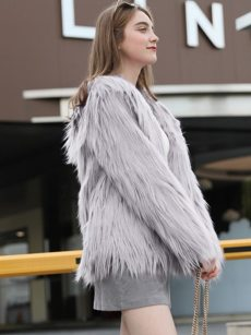 Vinfemass Solid Color Hooded Thick Short Faux Rabbit Fur Coat