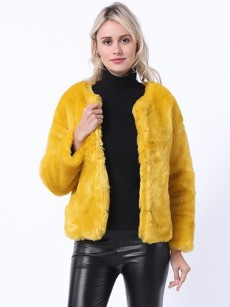 Vinfemass Elegant Solid Color Thick Faux Rex Rabbit Fur Short Coat