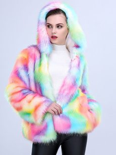 (Free Express Shipping)Vinfemass Thick Hooded Colorful Faux Fox Fur Coat