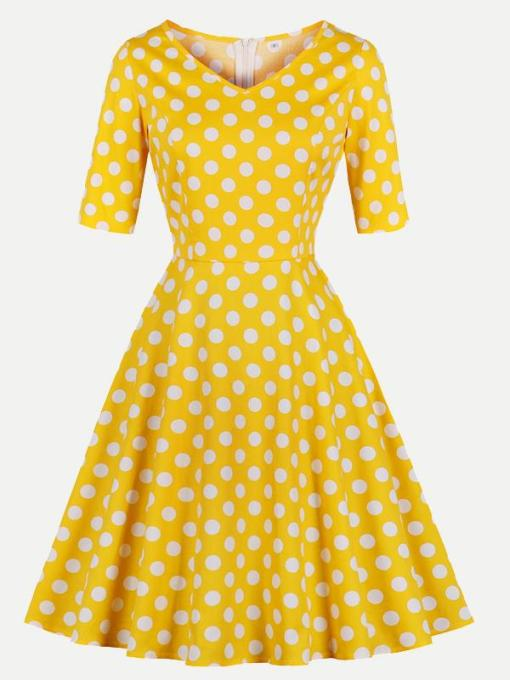 Vinfemass Retro V-neck Polka Dots Printed Plus Size Skater Dress
