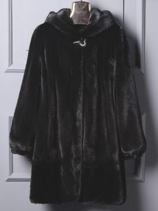 (Free Express Shipping)Vinfemass Thick Solid Color Hooded Long Faux Mink Fur Coat