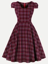 60s Red Plaid Lantern Sleeve Swing Dress