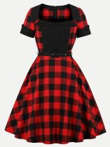 Vintage 60s Plaid Rockabilly Swing A Line Dress