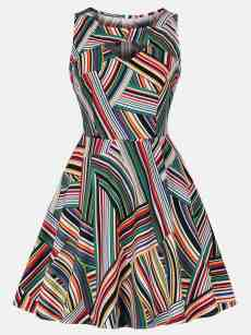 Vinfemass Retro Hollow Colorful Stripes Printing Tank Skater Dress