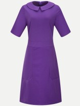 Vinfemass Solid Color Peter Pan Collar Plain Plus Size Office Dress