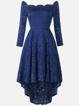 Elegant Boat Neck Irregular Hem Lace Party Skater Dress