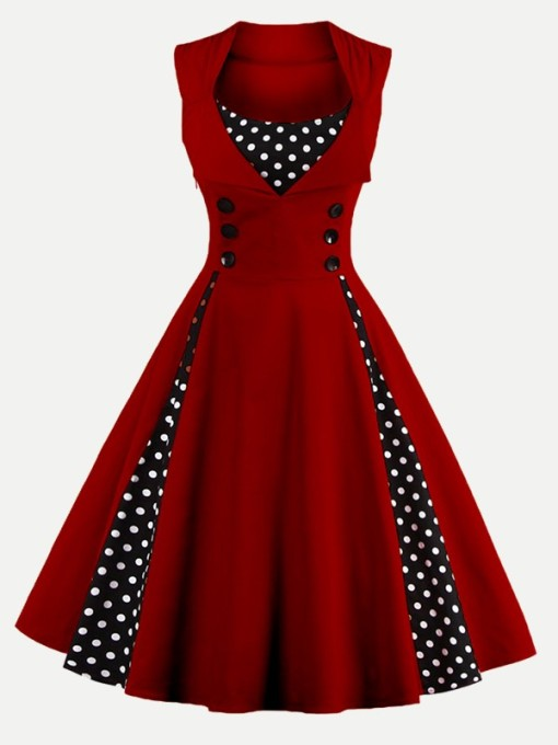 Vinfemass Retro Square Collar Polka Dots Printed Patchwork Buttons Decor Plus Size Skater Dress