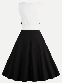 Womens 50s 60s Vintage Dress Black White Rockabilly Sleeveless A Line Swing Dress