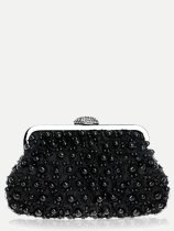 Vinfemass Pearls Decor Solid Color Clutch Bag With Chain