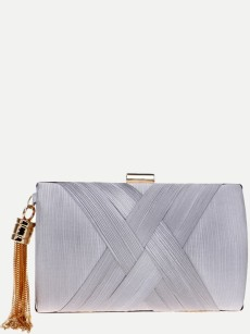 Vinfemass Solid Color Stripe Tassel Decor Silk Clutch Bag With Chain