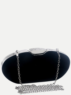 Vinfemass Solid Color Oval Shape Velvet Clutch Bag With Chain