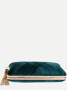 Vinfemass Solid Color Pillow Shape Tassel Decor Clutch Bag With Chain