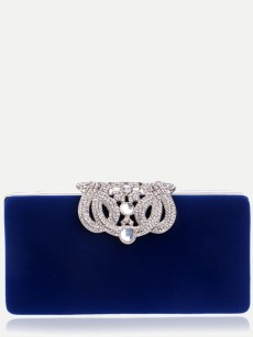 Vinfemass Solid Color Rhinestones Decor Clutch Bag With Chain