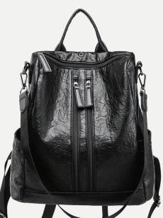 Vinfemass Solid Color Double Zipper Front Backpack
