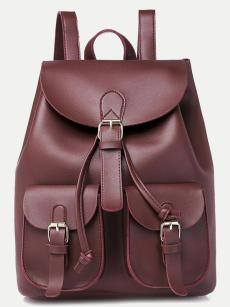 Vinfemass Solid Color Fold Dumpling Type Backpack