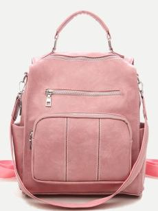Vinfemass Solid Color Front Pocket Sewing Threads Backpack