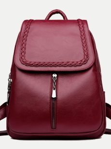 Vinfemass Solid Color Sewing Threads Decor Genuine Leather Backpack