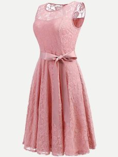 Vinfemass Sleeveless Solid Color Bowknot Decor Lace Party Skater Dress