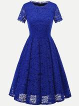 Solid Color Lace Party Skater Dress