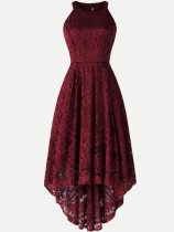 Halter Neck Lace Irregular Hem Long Tank Party Cocktail Skater Dress