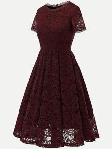 Vinfemass Solid Color Lace Party Skater Dress