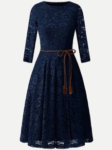 Vinfemass Solid Color Lacing Decor Lace Party Skater Dress