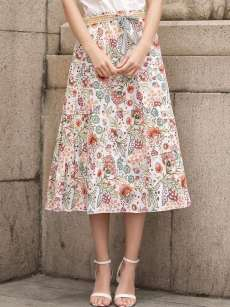 Womens Long Skirt Vintage Bohemian Floral Print Lacing High Waist Multicolor Skirt