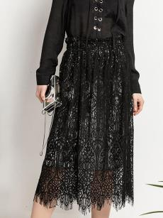 Vinfemass Solid Color Lace Patchwork Two Way Wearing Long Skirt