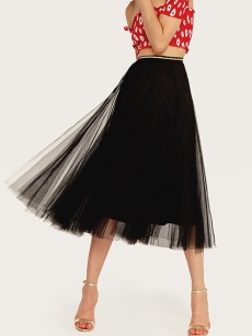 Vinfemass Solid Color Mesh Long Skirt