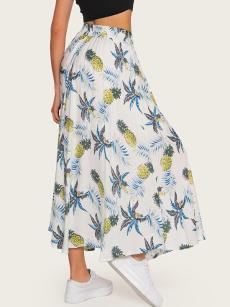 Vinfemass Bohemian Floral Printing Elasticated Waist Long Beach Skirt