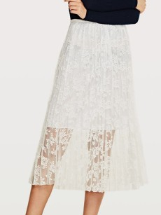 Vinfemass Solid Color Lace Flowers Long Skirt