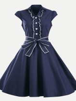 60s Rockabilly Solid Lacing Swing Dress