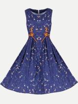 Vinfemass Retro Floral Printing Lacing Front Plus Size Skater Dress