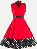 60s Polka Dots Sleeveless Swing Dress