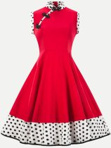 Vinfemass Retro Buttonhole Loops Stand Collar Polka Dots Printing Sleeveless Plus Size Skater Dress
