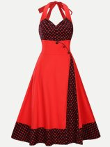 Vinfemass Retro Halter Neck Polka Dots Printing Patchwork Tank Plus Size Skater Dress