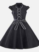 Vinfemass Retro Lapel Lacing Single Breasted Solid Plus Size Skater Dress