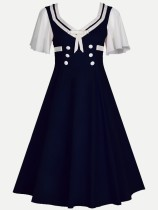 Vinfemass V Neck Color Block Bowknot Front Plus Size Skater Dress