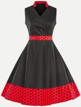 Vinfemass Retro V Neck Floral Polka Dots Printing Sleeveless Skater Dress