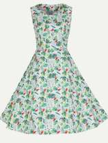 Vinfemass Retro Floral Printing Sleeveless Plus Size Skater Dress
