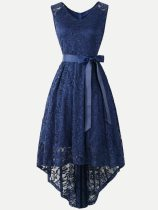 V-neck Lacing Decor Irregular Hem Tank Lace Party Skater Dress