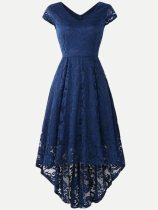V-neck Lace Hollow Irregular Hem Party Skater Dress