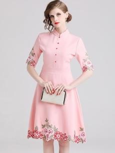 Vinfemass Solid Color Stand Collar Embroidery Flowers Cotton Party Skater Dress