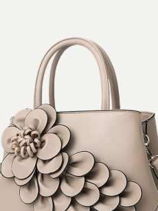 Vinfemass Flowers Decor Solid Color PU Tote Shoulder Bag