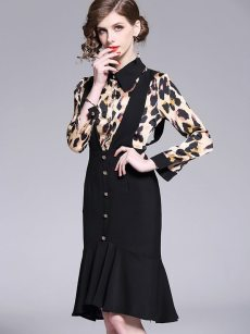 Vinfemass Lapel Leopard Printing Fake Two-pieces Mermaid Party Dress