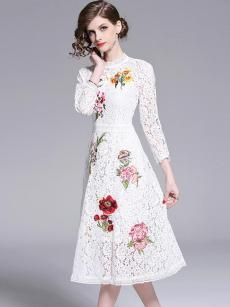 Vinfemass Stand Collar Embroidery Flowers Lace A Line Party Dress