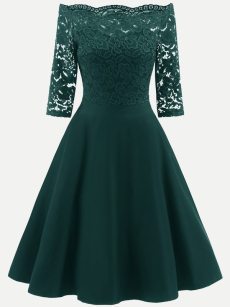 Vinfemass Boat Neck Lace Basic Long Party Skater Dress