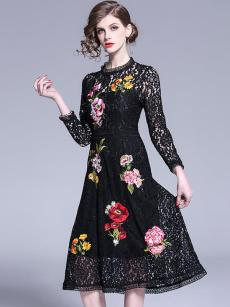Vinfemass Stand Collar Solid Color Embroidery Flowers Lace Party Dress