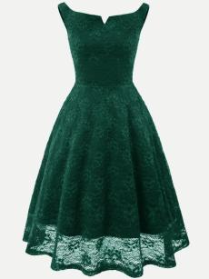 Vinfemass Vintage Boat Neck Backless Hollow Party Skater Dress